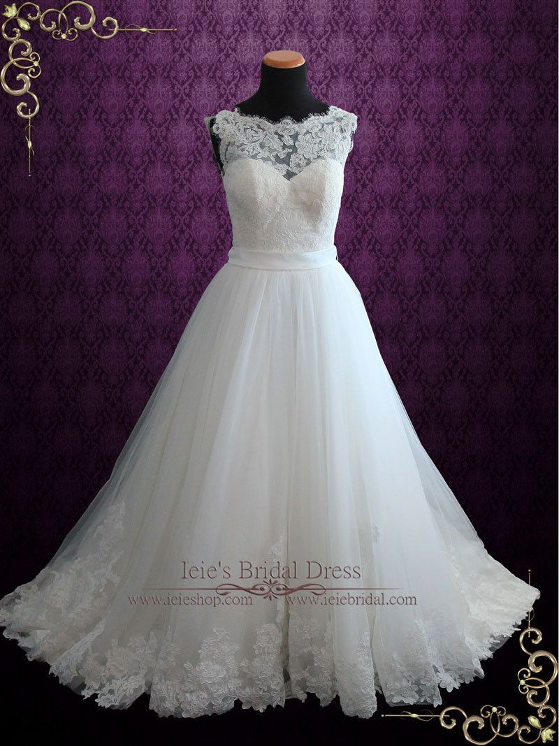 82fc9d2a4 Lace Ball Gown Wedding Dress with Illusion Boat Neckline | Vana | Ieie's  Wedding Dress Boutique