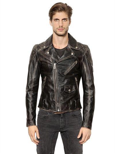 Arlingham Washed Leather Biker Jacket Black Leather Jacket