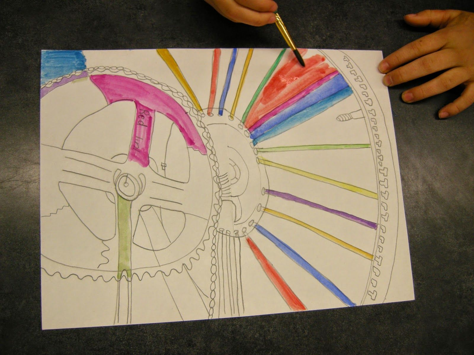 Line Art Lessons For Elementary : Zilker elementary art class th grade contour line bicycle