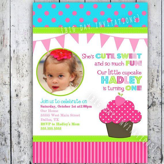 Cupcake Birthday Party Invitations Bright Modern Printable