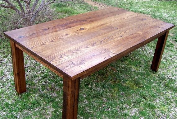 wormy chestnut thick plank farm table bunkhouse style heirloomreclaimed wood furniture by barnwoodfurniture wormy chestnut thick plank farm table by barnwoodfurniture on etsy, $995 00