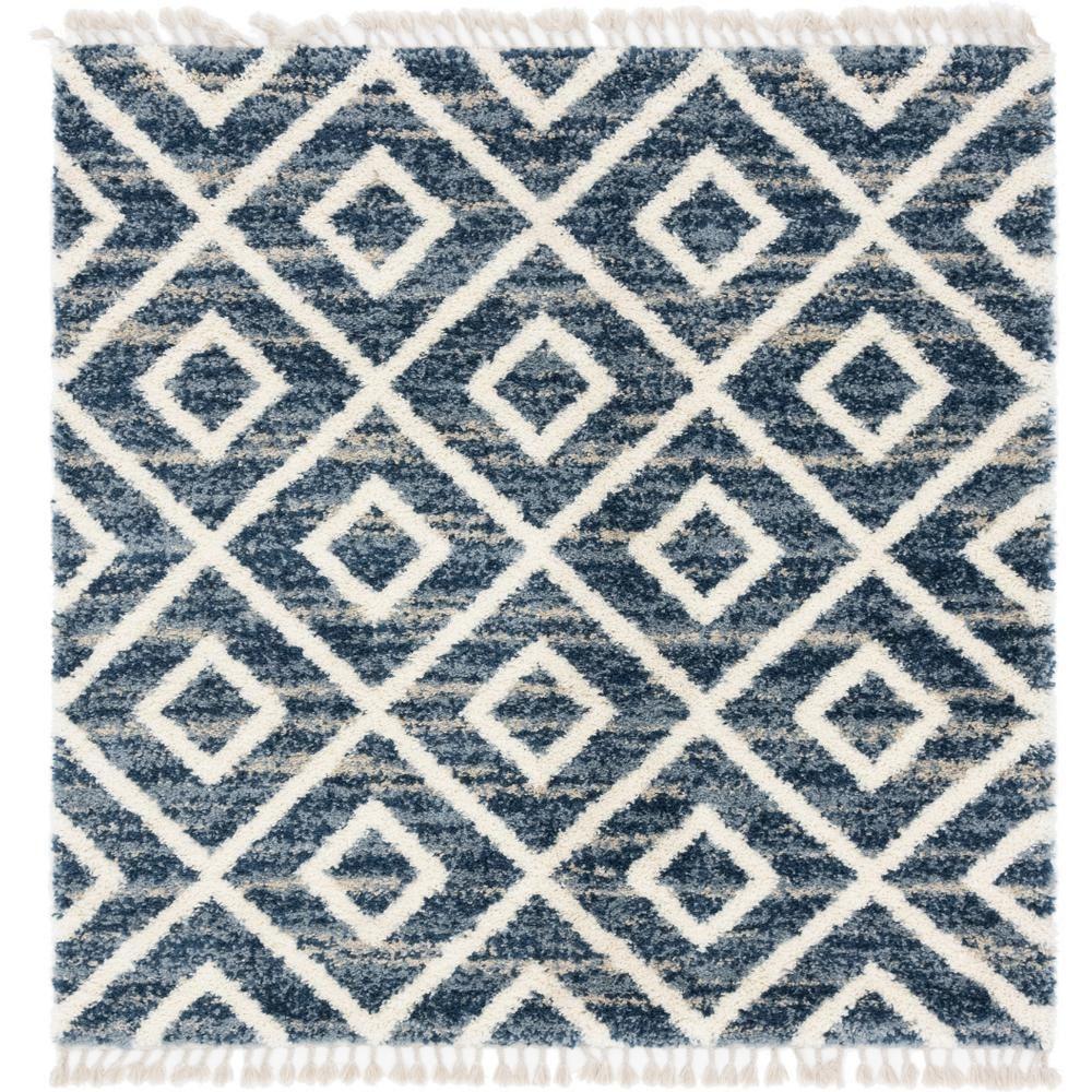 Unique Loom Hygge Shag Diamond Blue 8 Ft X 8 Ft Square Rug 3143743 Square Rugs Blue Area Rugs Area Rugs