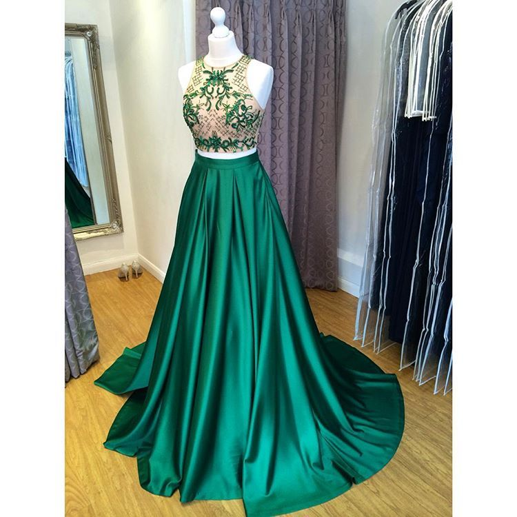 Green Two Piece Prom Dress,Cut Out Shoulder Prom Dress, Formal Gown Beaded Crop Top,Green satin halter a-line prom dress