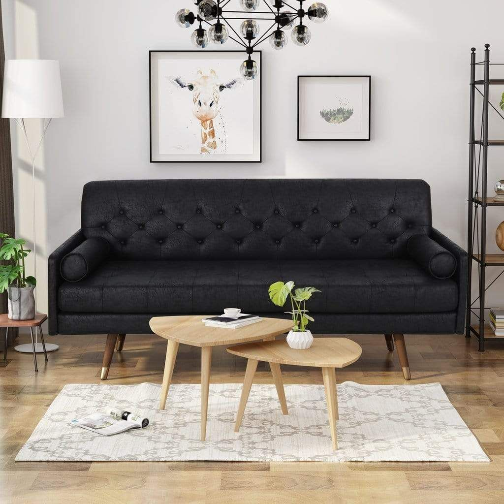 Photo of Mid Century Modern Sofa Microfiber with Button Accents – Black