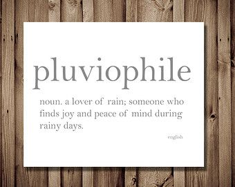 Pluviophile lover of rain dictionary art print word definition deep words stopboris Image collections