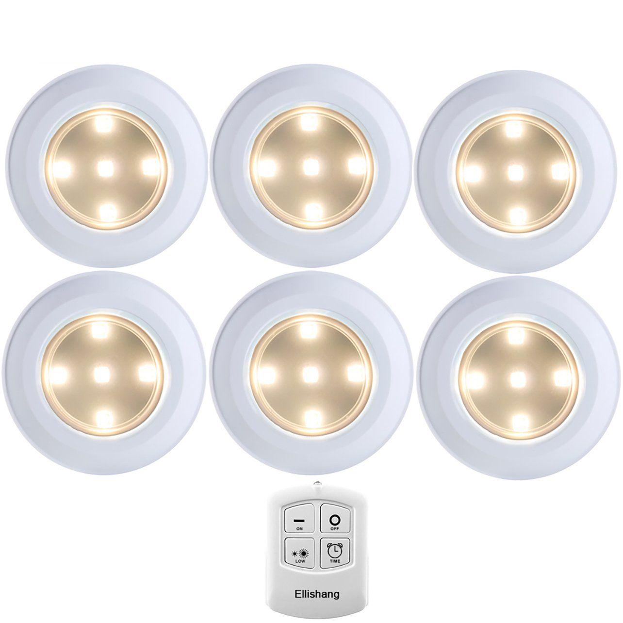 Puck Lights With Remote Control Ellishang 6 Pack Led Tap Battery Ed Wireless