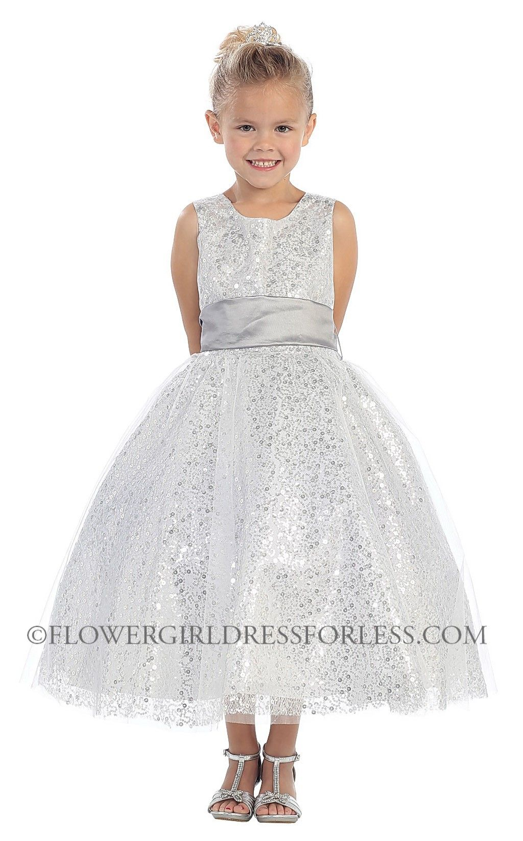 Girls Dress Style 5573- Sleeveless Tulle and Sequin Dress $68.99