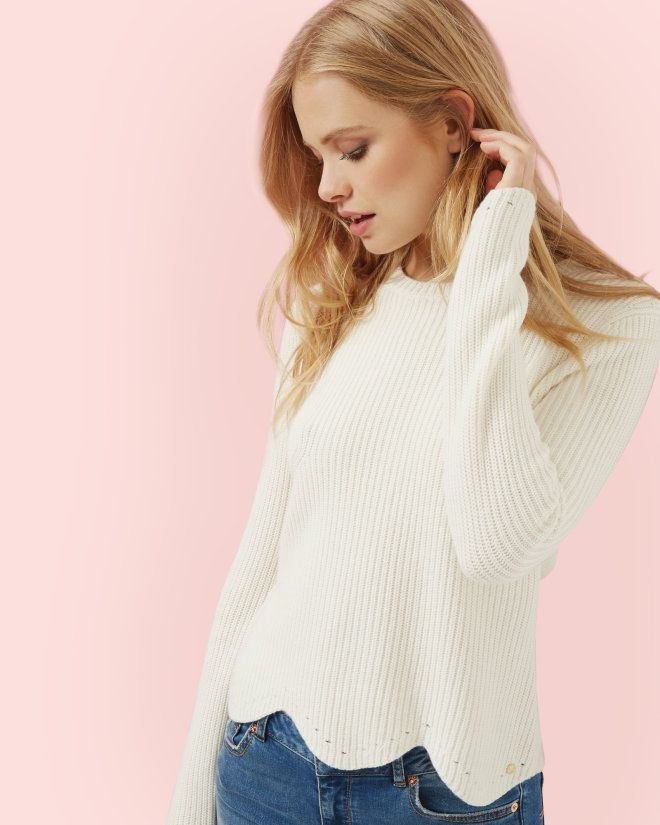 Scalloped edge ribbed sweater - Cream | Sweaters | Ted Baker ...