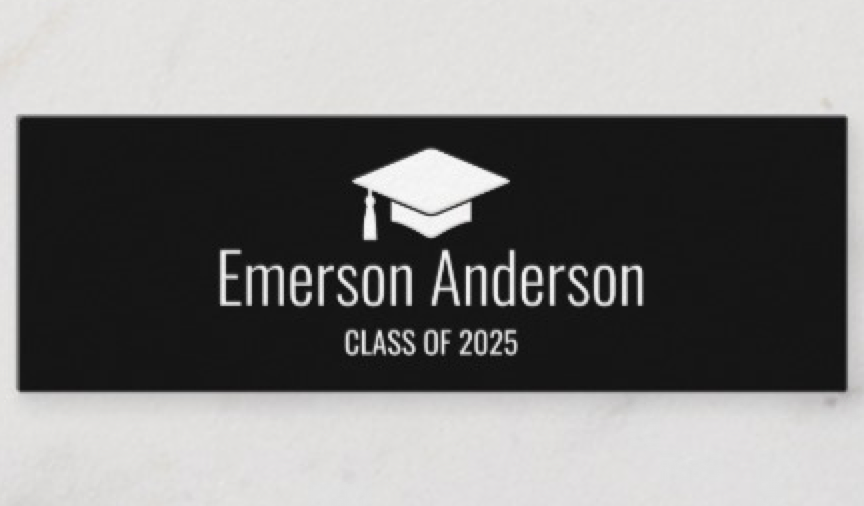 black minimalist graduate graduation name card  zazzle