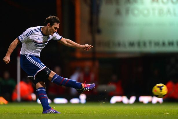 Spot kicks are a speciality for Frank Lampard, scoring a penalty against his old club in Chelsea's 3-0 win at West Ham.