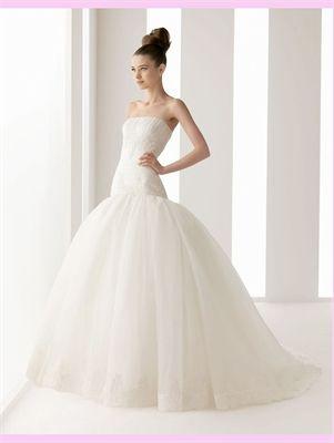 White Ball Lace Organza Wedding Dress