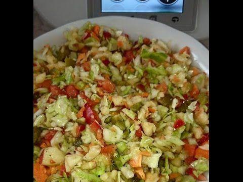 Thermomix TM 5 WMPGA Salat - Weißkohl, Möhren, Paprika, Gewürzgurken, Apfel - YouTube #olivierrussischersalat