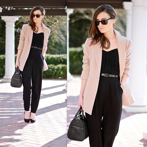 Blazer w/ jumpsuit... | Black jumpsuit outfit, Jumpsuit, Clothes
