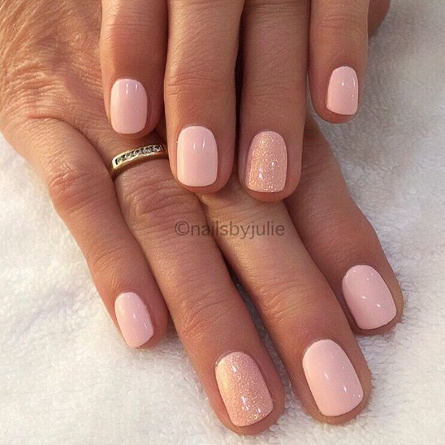 A Soft Pink with beautiful Golden/Pink #stardust effect accent nails   #cndworld #cndshellac #lovelecente #pink #pinknails #instanails #nailsoftheday #nailsofinstagram #nailaddict #babypinknails #auroracollection #nails #nailsalon #bbloggers #beautyblogger #prettynails #bestoftheday #cndnails #gelpolish #nailgram #understated #NOTD