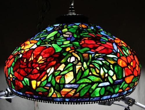 Antique Glass Light Fixtures Vintage Ny Somers Tiffany Leaded Stained Glass Hanging Light Fixture Hanging Light Fixtures Hanging Lights Gorgeous Glass