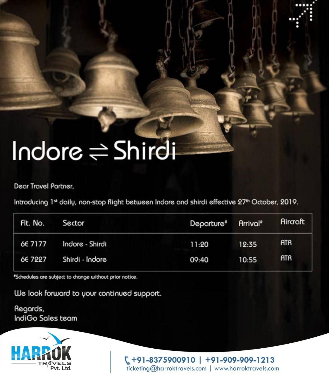 Fly Smart to Indore - Shirdi ✈️ With IndiGo (fixed departure) #Indigo Cheapest airfares with the best discounts and deals on domestic and international flights booking around the world. Call Us: +91-8375900910, +91- 909-909-1213 Harrok Travels Services ⭐Air Ticketing ⭐Visa Assistance ⭐Hotel Reservations ⭐Holiday Packages ⭐Travel Insurance ⭐Currency Exchange ⭐Passport Service  #economyclass #flight #cheapfares #cheapairticket #traveldeal #flightdeal #airticketeting #flightbooking #specialairfare