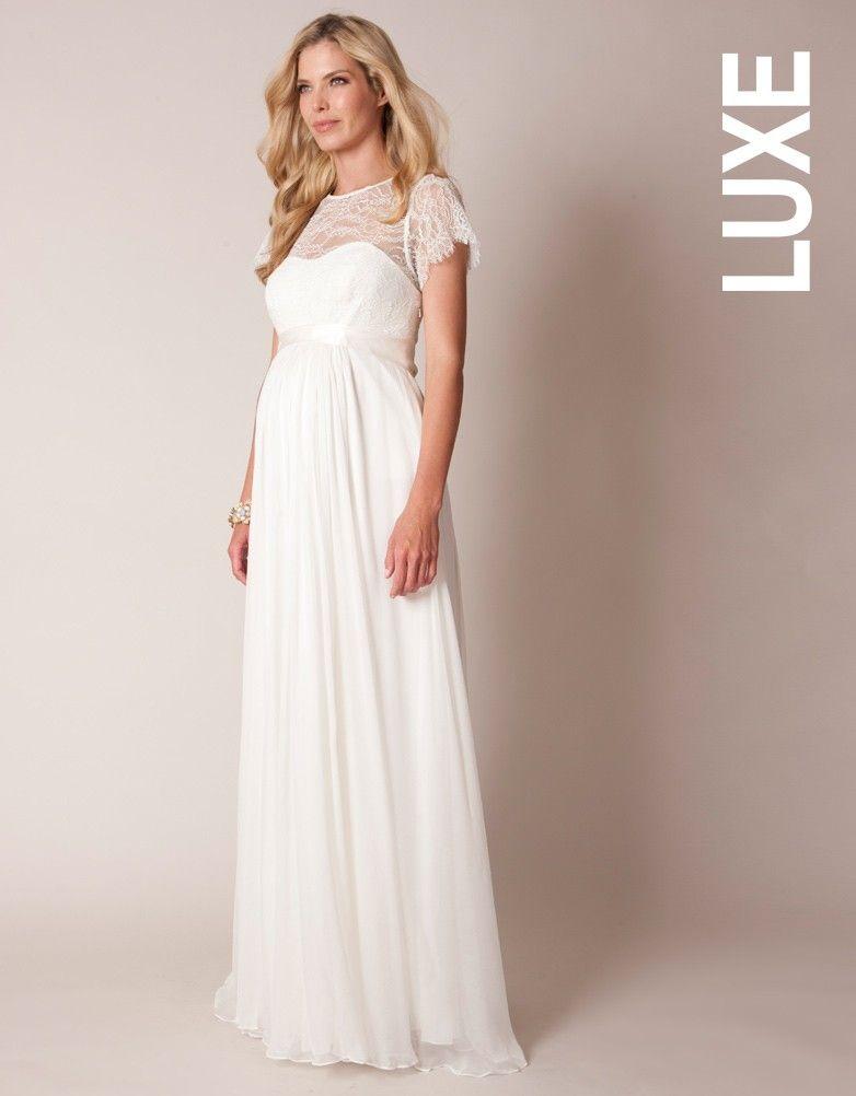 Robe grossesse longue dentelle et soie ivoire for Robes de mariage hoochie mama