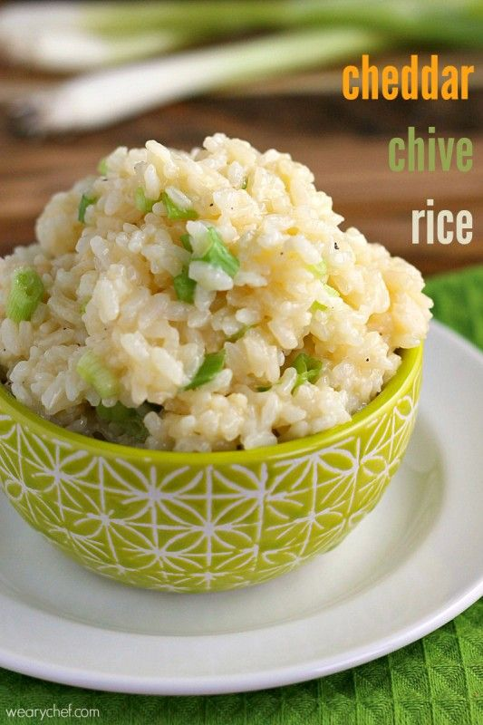 Cheddar Chive Rice - After you try this quick and easy side dish, you'll…