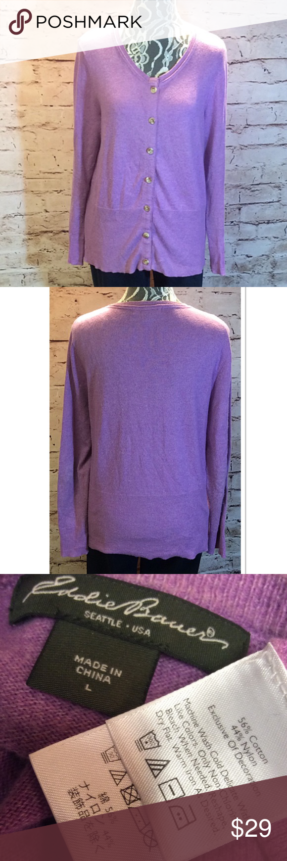 Sz lg eddie bauer light purple cardigan | Lightweight cardigan ...
