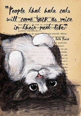 Set of 2 Quote Print A4 - Cat Illustration - Art Print - Cat Art - Home Decor - print: People that can't wait cats by Eva Fialka