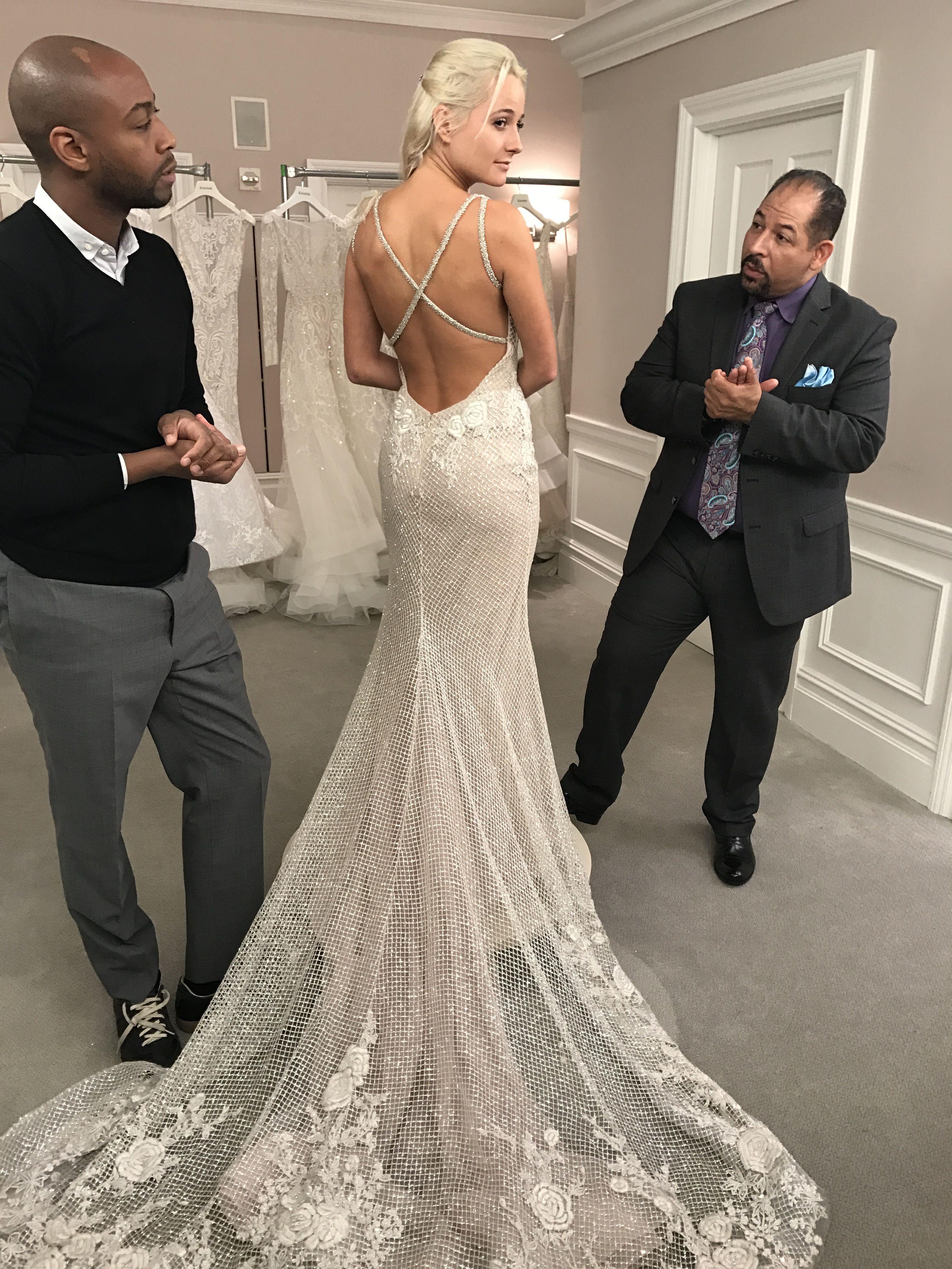 Lazaro trunk show at kleinfeld bridal model wearing