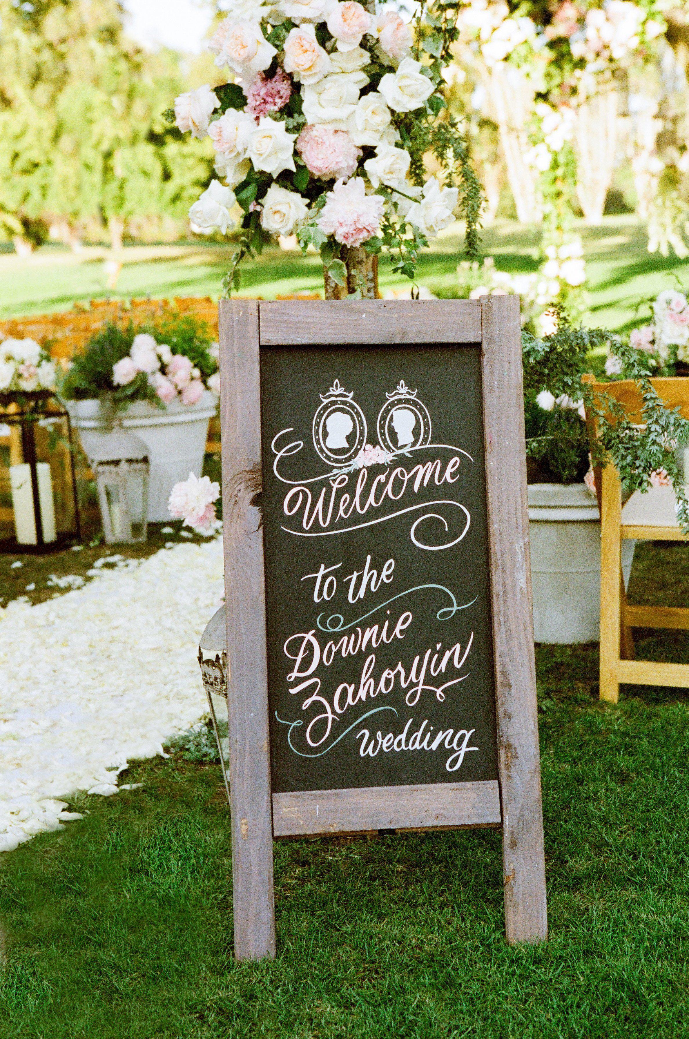 Artistic chalkboard sign diy wedding decorations