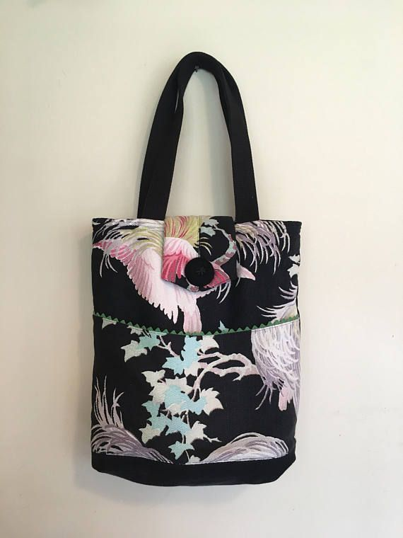 1156504512c3 Bark cloth tote Bag Floral Bark cloth purse handmade
