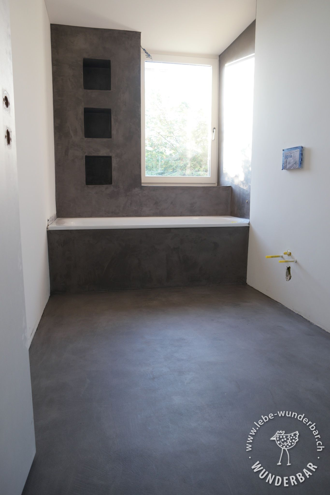 Haussanierung mineralischer wand bodenbelag making of badezimmer baden bad - Bodenbelag badezimmer fugenlos ...