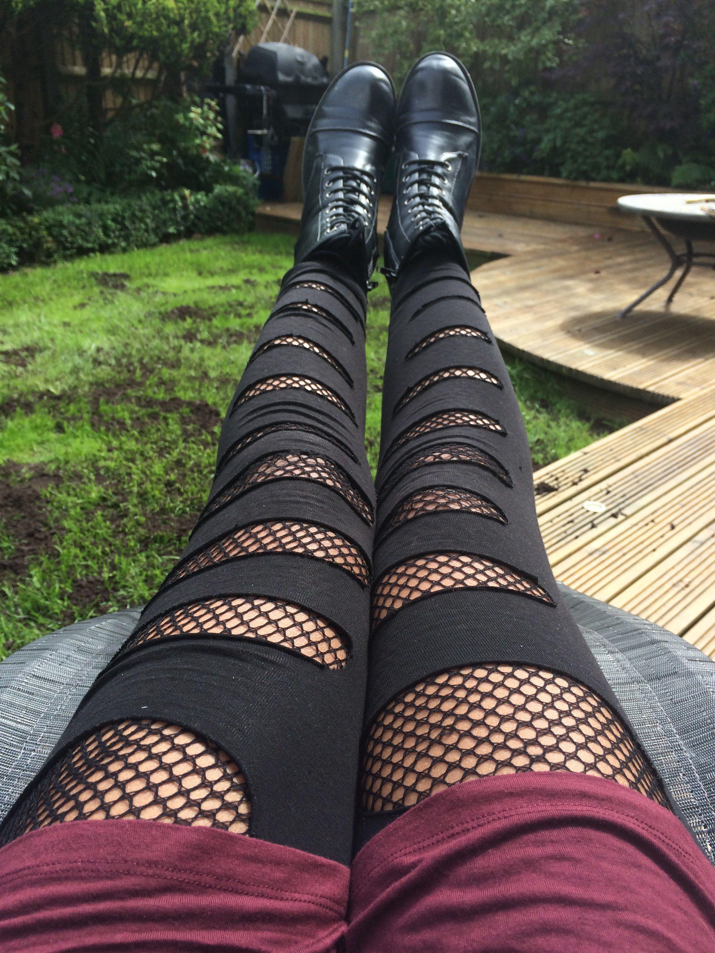 1de76543f3bb0 DIY Fishnet tights, underneath ripped black leggings Punk / rocker / emo /  grunge / Goth By Yogo Mogo on Pinterest