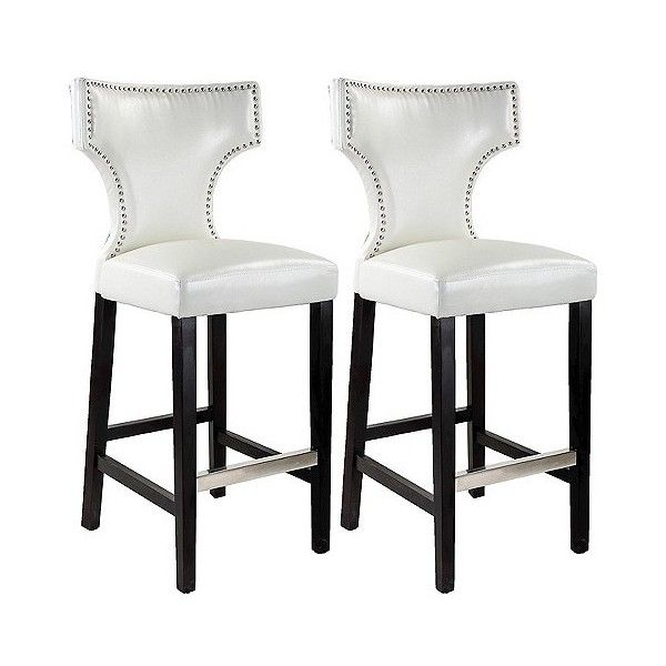 Kings Studded Bonded Leather Barstool 310 Liked On Polyvore Featuring Home Furniture Stools Barstools Bar Stools Leather Bar Stools White Bar Stools