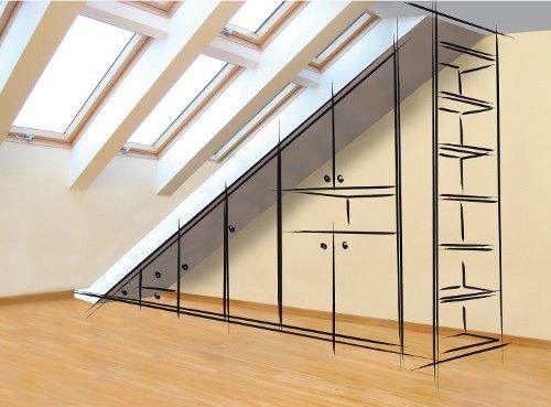 placard sous pente, idee pour la chambre etage Pinterest