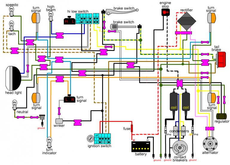 Bare bones wiring diagram? | My CB500T | Diagram, Bare