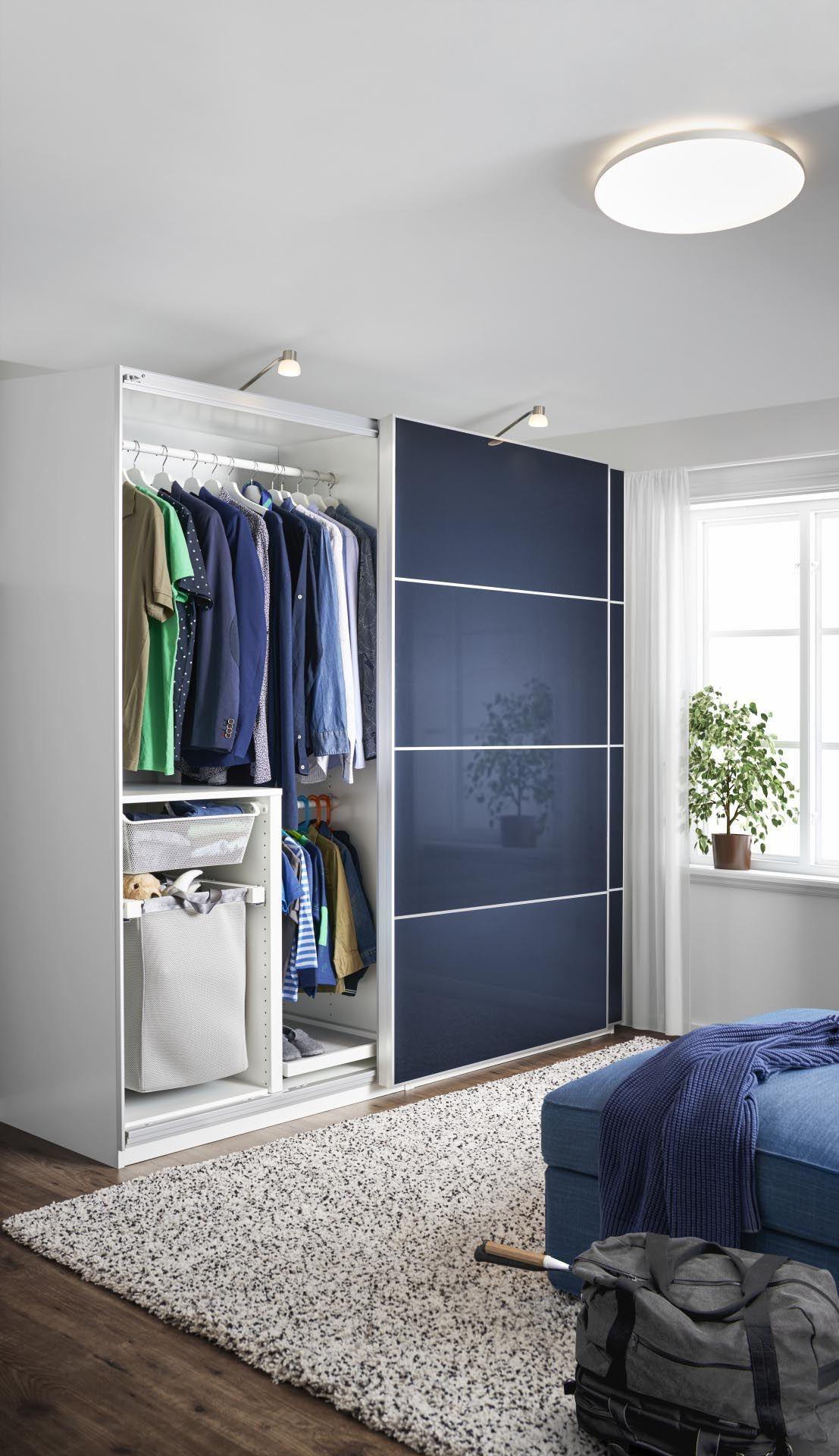 PAX Kledingkast wit Hokksund, hoogglans zwartblauw