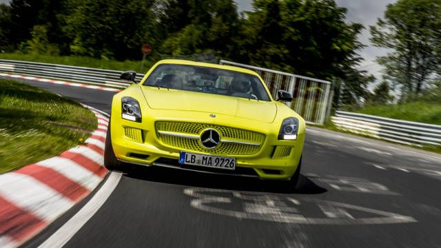 Mercedes-Benz's electro-panzer sets the Nürburgring EV record. 751 hp of brightly-colored Gullwing snatches bragging rights away from Audi's R8 E-tron.