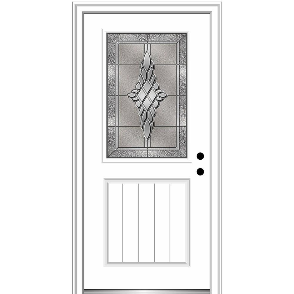 Mmi Door 32 In X 80 In Grace Right Hand Inswing 1 2 Lite Decorative Primed Fiberglass Prehung Front Door 4 9 16 In Frame Z03656275r Front Entry Doors Single Entry Doors Aluminum Screen Doors