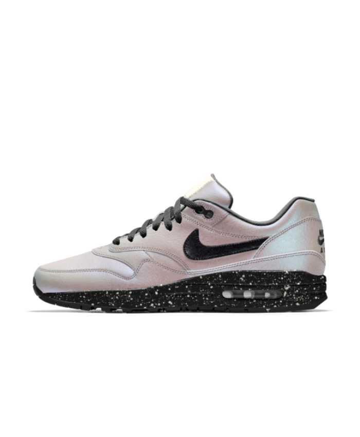 wholesale dealer 9d569 28ed2 Nike Mens Air Max 1 iD White Pearl Black Sail Speckle Shoe