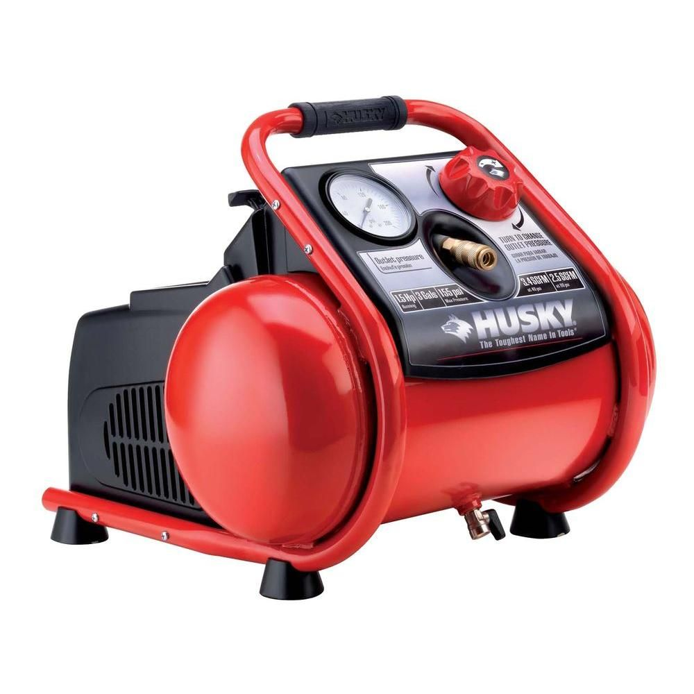 Husky Factory Reconditioned Trim Plus 3 Gal Portable Electric Air Compressor H1503TP R At The