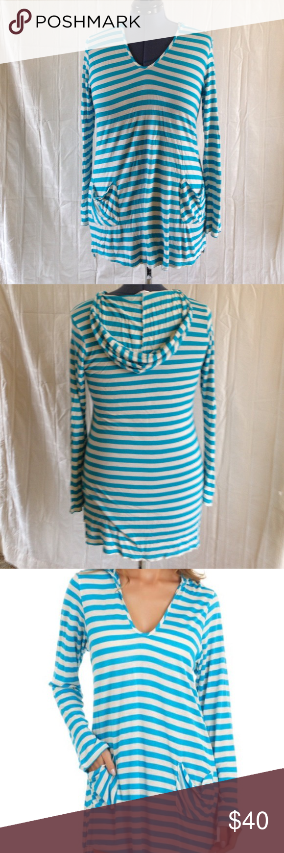 562e9126555f5 Long sleeved with a hood--perfect for after a dip! Beautiful turquoise and  cream stripes. Ella Moss Swim Coverups