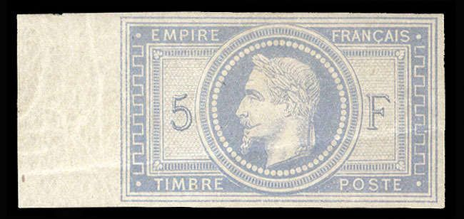 France, Scott 37b. 1863-70 5fr Empire, imperf. left margin single, clear margins on other sides, l.h., nice impression, diagonal crease, otherwise v.f. and rare (YT 33c, cat. Euro 11,000) (Catalog value $ 10,000)