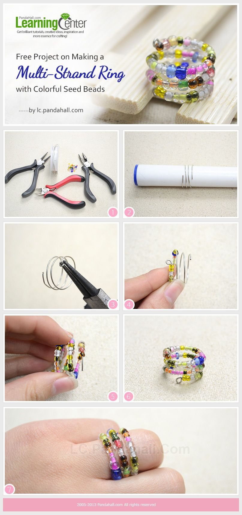 Free Project on Making a Multi-Strand Ring with Colorful Seed Beads ...