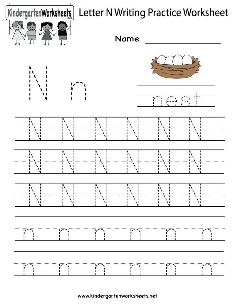 Kindergarten Letter N Writing Practice Worksheet Printable – Letter Practice Worksheets for Kindergarten