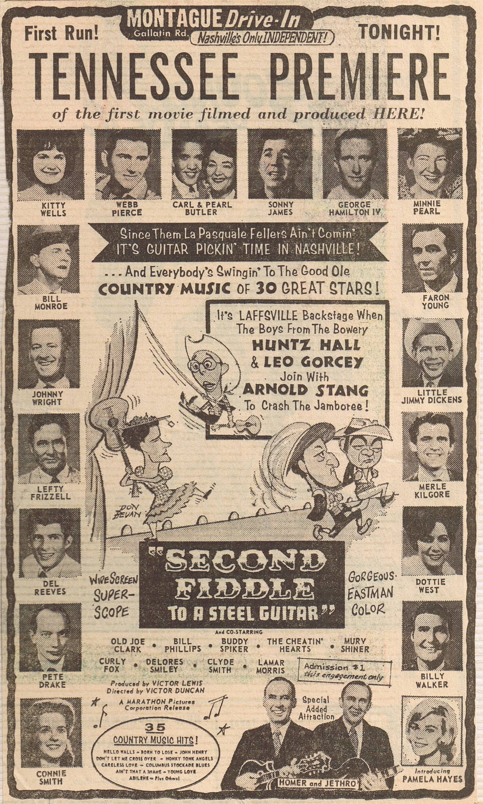 Advertisement For TENNESSEE PREMIERE Of Second Fiddle To A Steel Guitar Country Music Movie