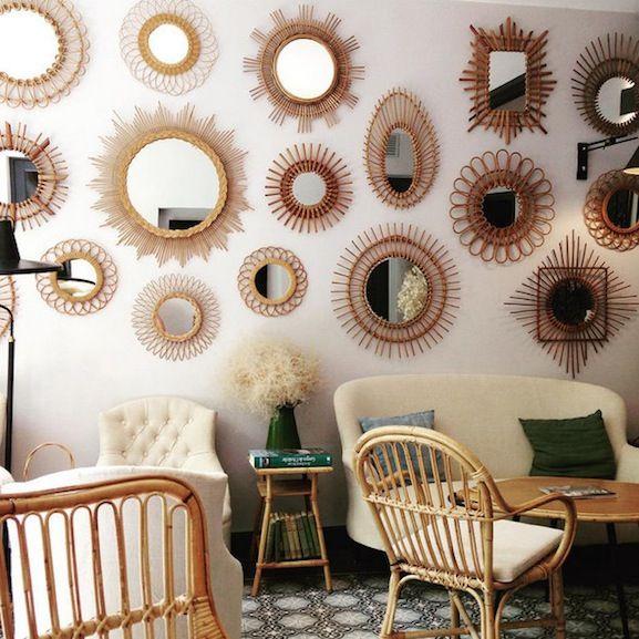 Compte instagram encre violette mur de miroirs rotin for Deco miroir rotin
