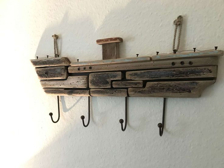 Xxl Holz Wandgarderobe Garderobe 4 Haken Schiff Maritim Braun