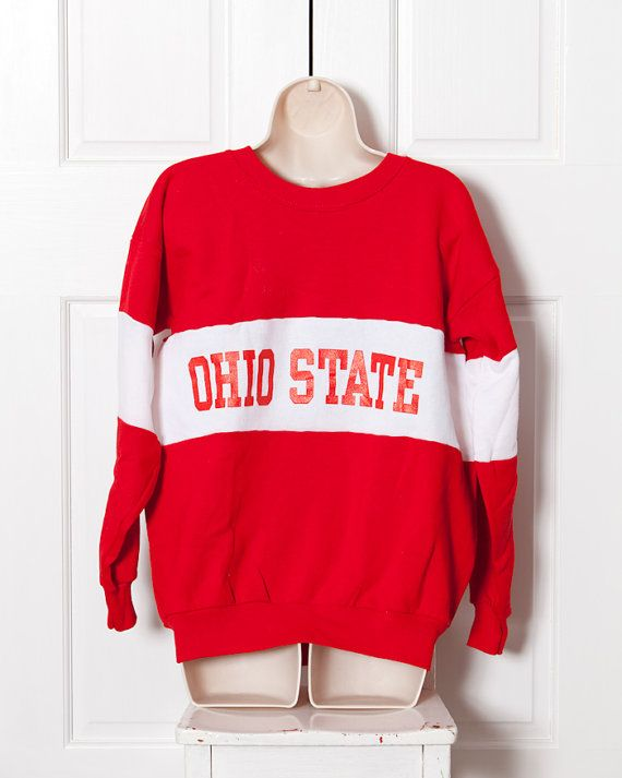 Vintage OHIO STATE Sweatshirt red and white by GreatWhiteVintage ... f6e7729f8