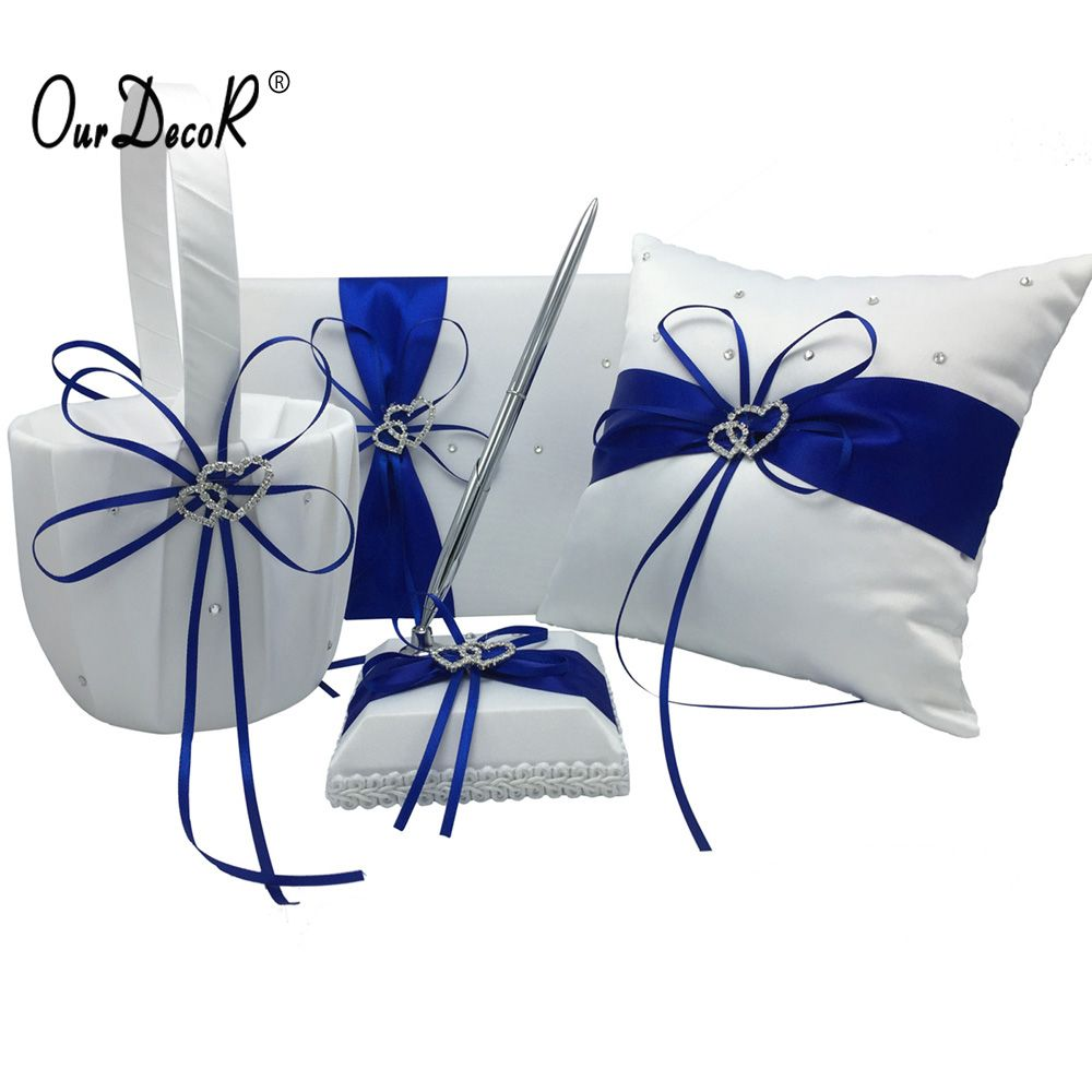 Wedding decorations with royal blue  Pcsset Royal Blue Wedding Decoration Bridal Satin Ring Pillow