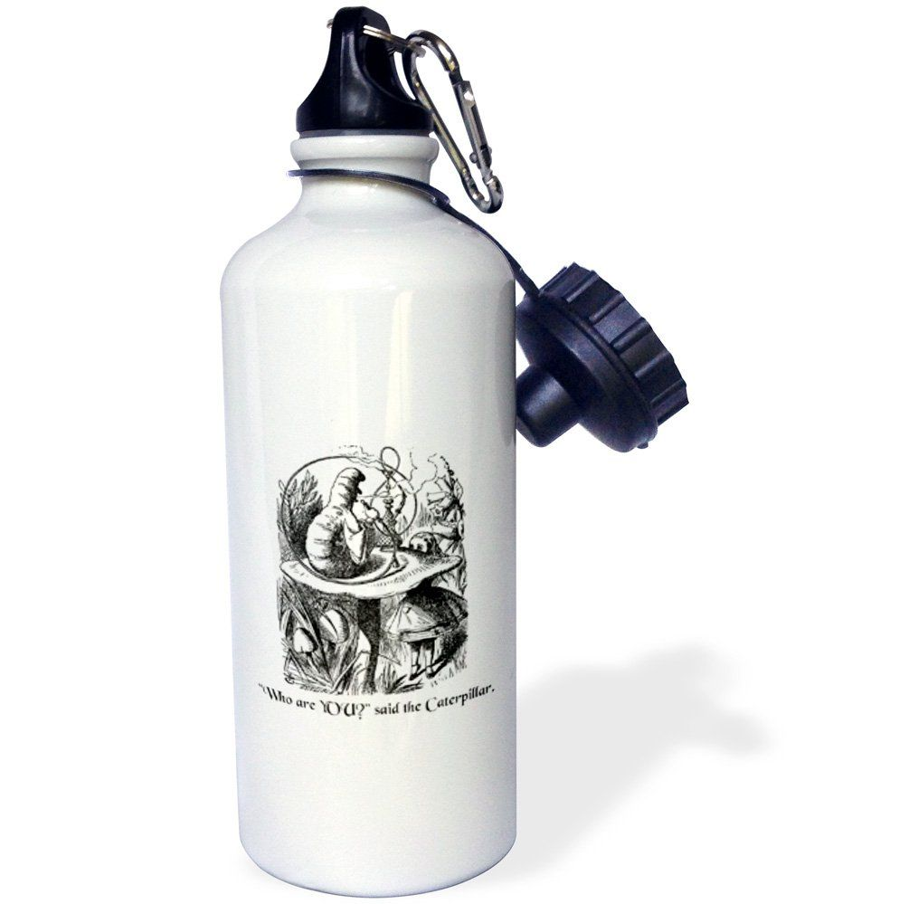 3dRose wb_193796_1 Who Are You-Smoking Caterpillar Quote From Alice in Wonderland Sports Water Bottle, 21 oz, White. Made of aluminum; Capacity: 20oz. 2 twist on caps - 1 easy-flow drinking spout and 1 standard cap; Carabineer clip also included. Custom printed high gloss image sublimated directly to white glossy exterior surface. Fits most cup holders. Not intended for dishwasher or microwave use.