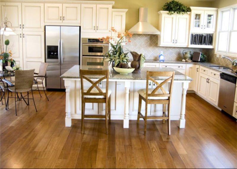 Antique White Kitchen with Wood Floors Kitchen