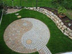 Fengshui Garten jing jang terrasse aus grauen und roten granit feng shui garten