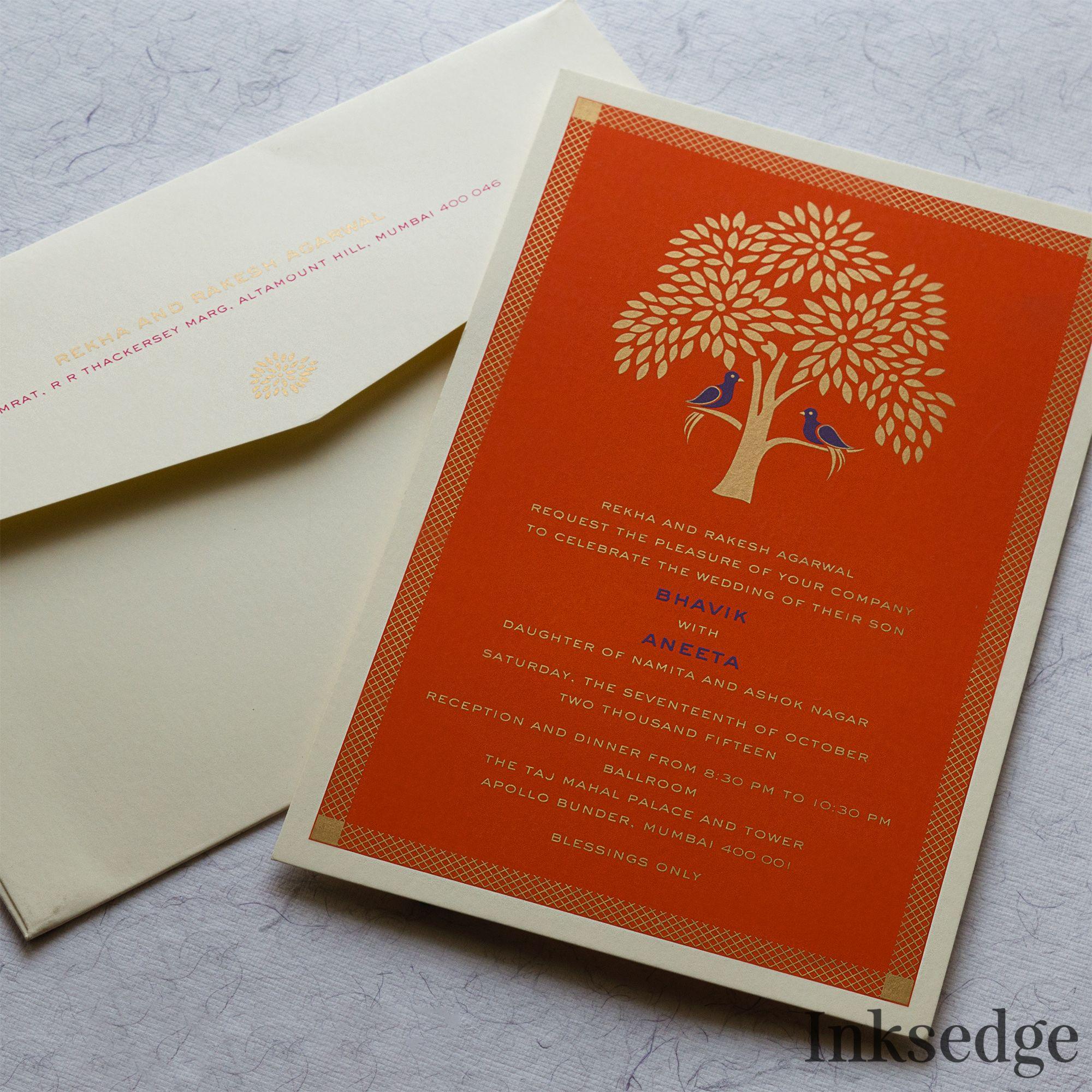Tree Of Life Designs In Saffron Inksedgeweddinginvitations Weddinginvit Indian Wedding Invitation Cards Wedding Card Design Indian Hindu Wedding Invitations